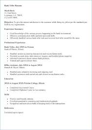 Bank Teller Resume No Experience From Samples