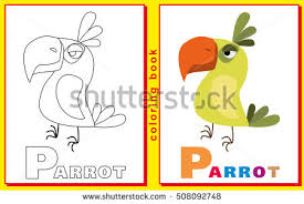 Coloring Book Kids Letters Words Letter Stock Vector