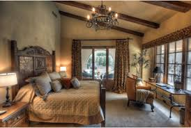 Rustic Wooden Beams Plaster Wall Finishes Tuscan Bedroom Furniture Wrought Iron Chandeliers