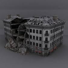 Low Poly Destroyed Building 3D Model In Fantasy 3DExport