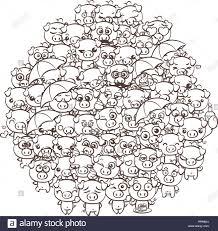 Blanco Y Negro Ilustración De La Historieta De Cerdo Lindo Granja