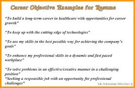 Sample Resume Career Objective Objectives Com