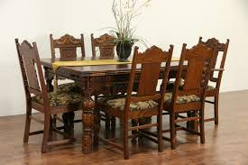 100 Oak Table 6 Chairs SOLD English Tudor 1920 Antique Carved Dining Set
