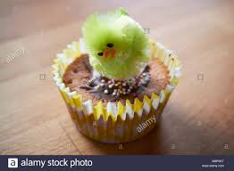 Small Fairy Cake Decorated With An Easter Chick In School By Young Child