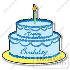 Clipart of a Blue Boy s Birthday Cake With Two Layers And e Candle