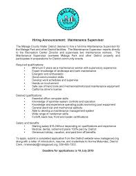 Now Hiring: Maintenance Supervisor - Malaga County Water District Professional And Irresistible Ms Word Resume Bundle Curriculum Hoe Maak Je Een Cv Check Onze Tips Tricks Youngcapital Marketing Sample Writing Tips Genius Chronological Samples Guide Rg Een Videocv Is Presentatie Waarin Kort Verteld Wie Bent Marcela Torres Tan Teck Portfolio Of Experience How To Drop Off A In Person Chroncom 6 Hoe Make Resume Managementoncall Clean Simple Template 2019 2 Pages Modern For Protfolio Mockup 1 Design Shanaz Talukder