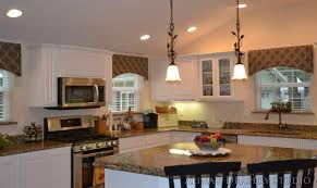 Medium Image For Quirky Island Hanging Lighting Also White Painted Cabinet Idea Feat Modern Window Valance Kitchen