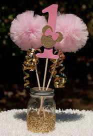 Pink White And Gold Birthday Decorations by Minnie Mouse Party Pink And Gold Minnie Centerpiece Table