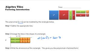 algebra tiles factoring factoring intro systry