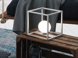 design led kugel nachttischleuchte nickel matt glasschirm opalweiß wohnzimmer