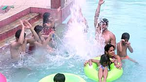 Family Enjoying At Swimming Pool Water Park Delhi India Stock Footage Video