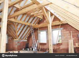 100 House Trusses Unfinished Attic Construction Interior Building House Attic