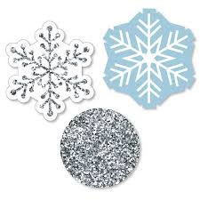 Winter Wonderland Shaped Paper Cut Outs Snowflake Holiday