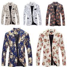 fashion men u0027s fancy cartoon floral print casual jacket blazer