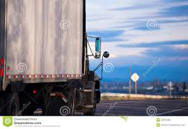 100 Semi Truck Mirrors Trailer On Road With Cloudy Sky Stock Image