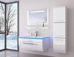 atlantis 90 cm weiss badmöbel set mit einem hängeschrank hochglanz lackiert spiegel mit beleuchtung waschbecken