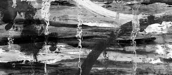 Winter Lake Black And White Abstract Landscape Painting