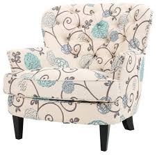 alfred floral upholstered club chair white and blue
