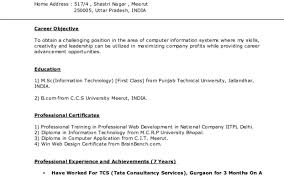 Tcs Resume Format For Freshers Computer Engineers by Delighted Tcs Resume Format For Experienced Gallery Resume