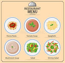 different types of cuisines in the different types of dishes on menu stock vector illustration