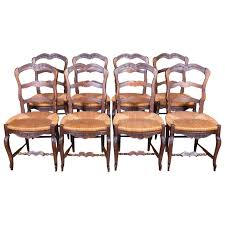 Press Back Chairs Oak by Set Of Eight Country French Antique Provencal Rush Seat Ladder