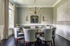 Two Tone Walls With Chair Rail by Gray Dining Room Chairs Chair Rail Molding Divides Two Toned Walls