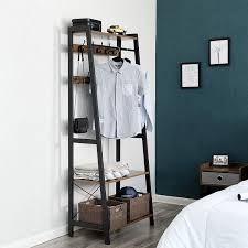 vasagle garderobenständer im industrie design kleiderständer kleiderablage mit 2 regalebenen in holzoptik garderobe flurgarderobe 9 kleiderhaken