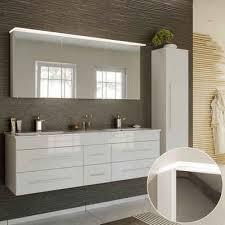 lomadox badmöbel set newland 02 spar set 3 tlg in hochglanz weiß 153cm waschtisch mit unterschrank led spiegelschrank hochschrank b h t ca