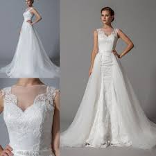 two in one wedding dresses 2016 lace appliques bridal gowns with