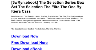 The Selection Series Box Set Elite Onedoc