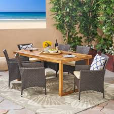 Fraser Outdoor 6-Seater Acacia Wood Dining Set With Wicker ...