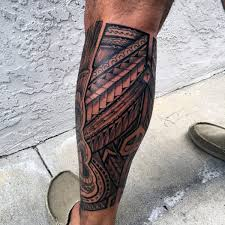 Mens Hawaiian Tribal Tattoo On Legs