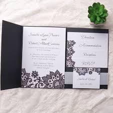 Exqusite Black Printed Lace Pocket Wedding Invitation EWPI151