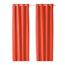 ikea sanela curtains drapes 2 panels orange velvet 98 grommet
