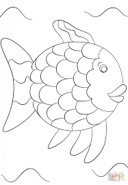 Click The Rainbow Fish Template Coloring Pages