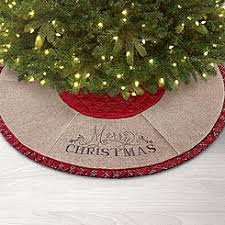 DONNER BLITZEN 48 Tree Skirt Red Quilted With Merry Christmas