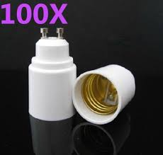 100pcs gu10 to e27 led socket adapter led light bulb base wall