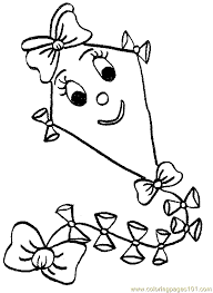 Printable Coloring Page Kites Cartoons