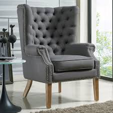 Wingback Chair Slipcover Linen by Tov Furniture Tov A2040 Abe Grey Linen Tufted Wing Chair W