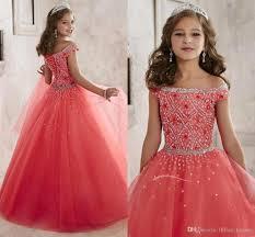 sparkling u0027s pageant dresses teens off shoulder crystal beaded