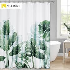 nicetown 60 muster grüne pflanze dusche vorhang badezimmer wasserdicht polyester blätter 3d druck vorhänge für bad dusche