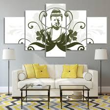 großhandel 5 stücke leinwand bilder hd drucke wandkunst buddha comic zeichnung gemälde für wohnzimmer wohnkultur modular bilder solutionwinni