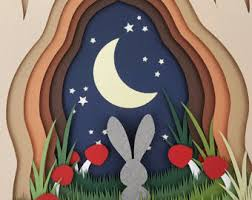 Moongazing Bunny DIY Layered 3D Shadow Box Papercutting Cut Your Own Template Printable PDF With Step By Tutorial