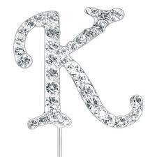 Letter K Beautiful Diamante Pick Cake Cupcake Topper