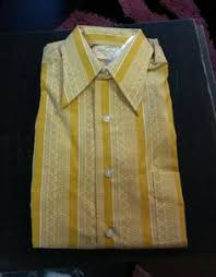 Vintage Shirt Mens Button Down Van Heusen Euroflair Pocket Yellow Psychedelic Print 60s 70s Fashion Factory