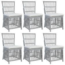 vidaxl esszimmerstühle mit kissen 6 stk grau natur rattan gitoparts