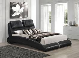 contemporary black crocodile pu queen size platform bed