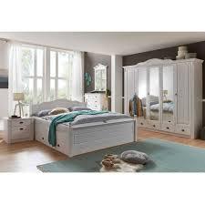 weißes schlafzimmer mit bett 180x200 schrank laburita im landhaus stil 4 teilig