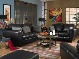 Black Leather Living Room Furniture Set Chairs