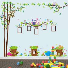 stickers chambre enfants design interieur stickers muraux hiboux singes animaux forêt déco